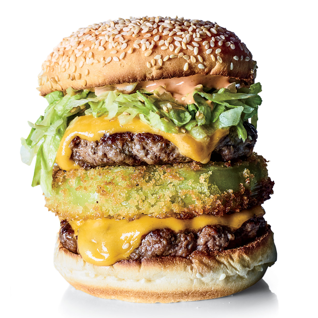 Fried Green Tomato Double Cheeseburgers