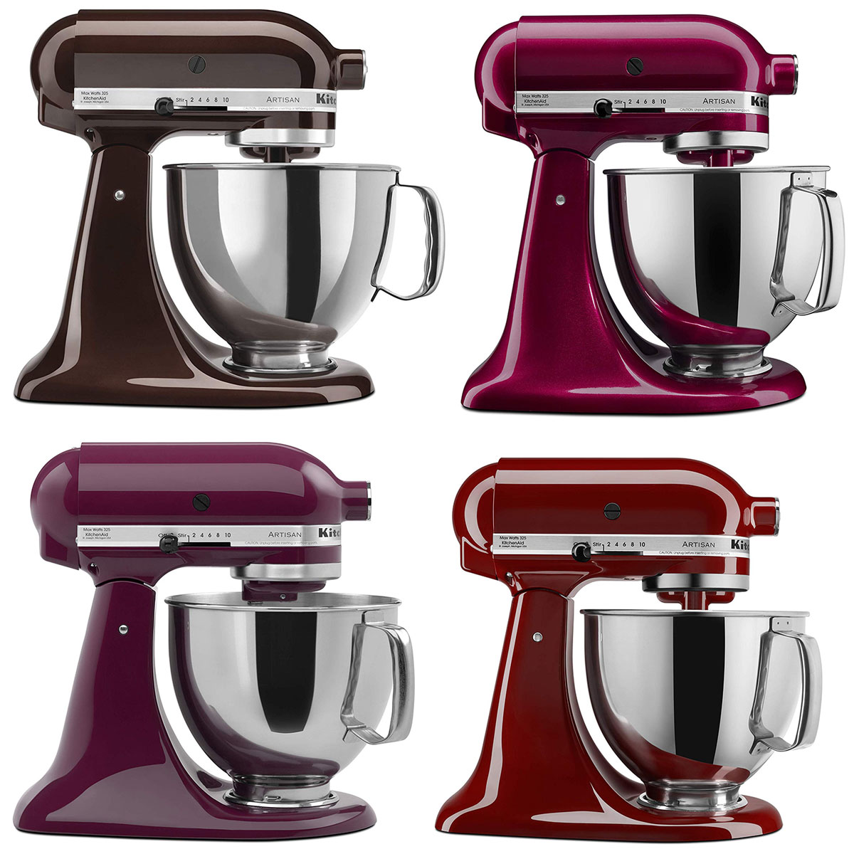 kitchenaid mixers in red and brown