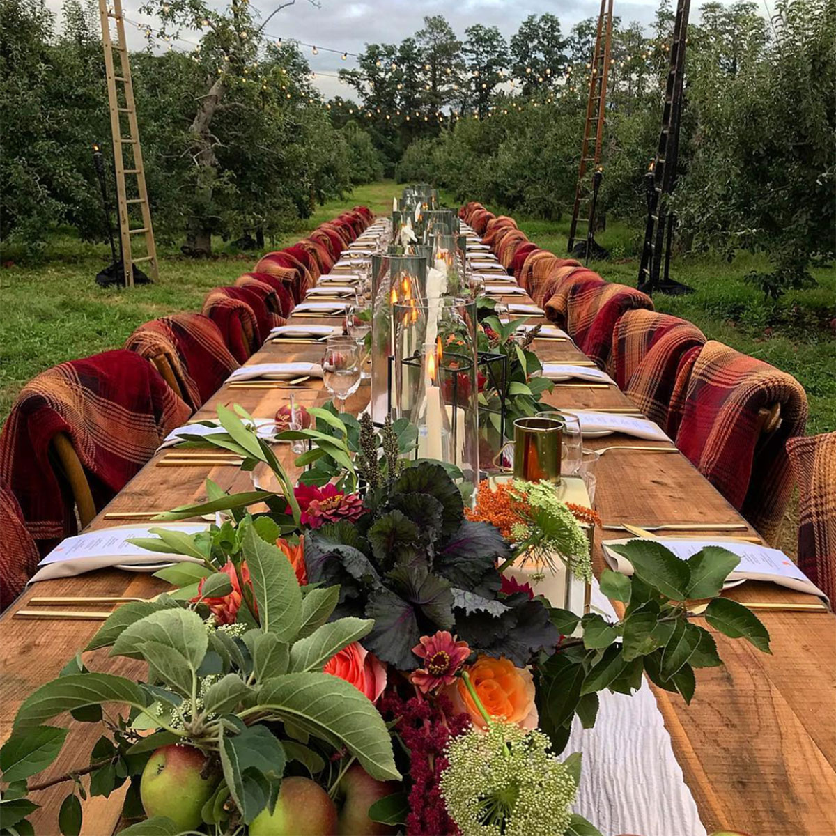 Mixed Greens Event Design for Angry Orchard thanksgiving table