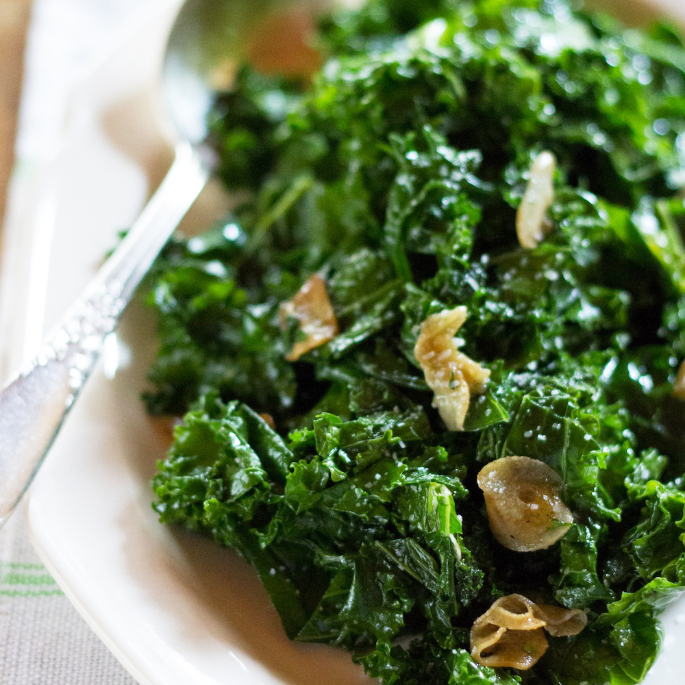 Saut 233 Ed Kale With Garlic And Olive Oil Recipe Emily Farris Food Amp Wine