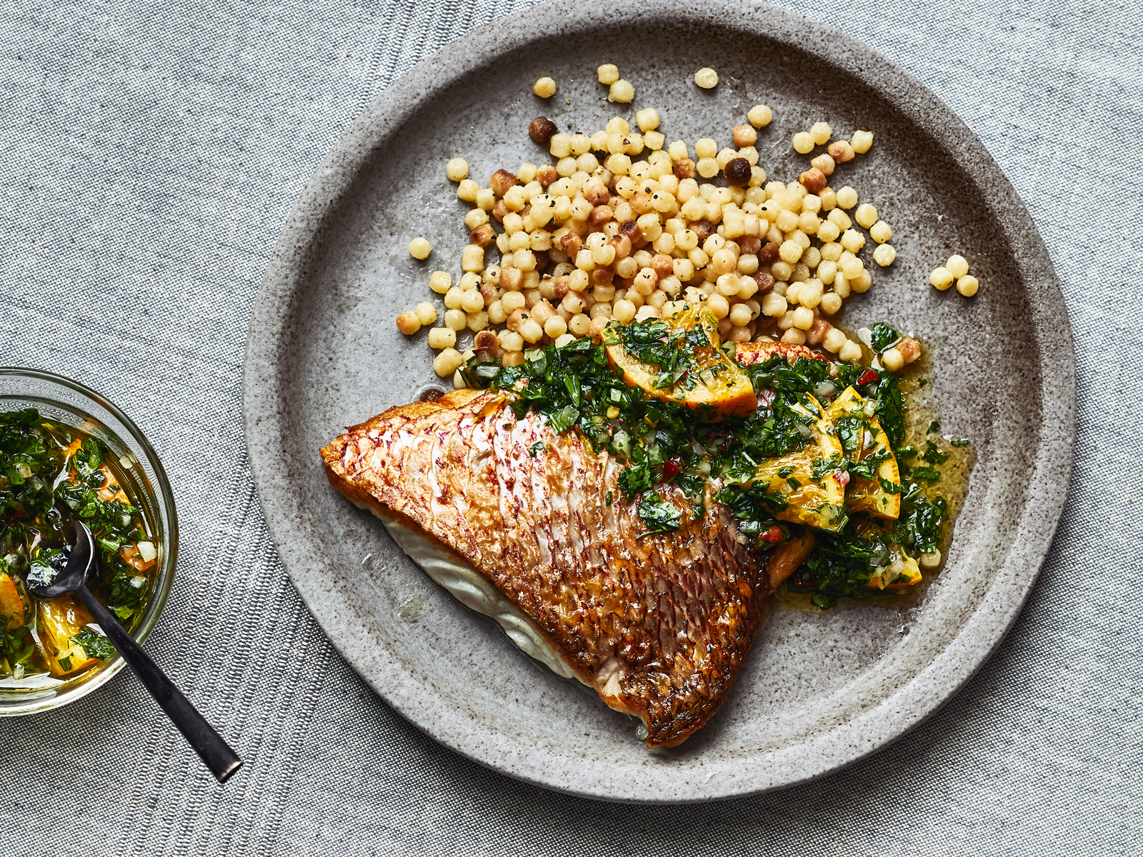 Snapper with Preserved Citrus Gremolata and Fregola Recipe