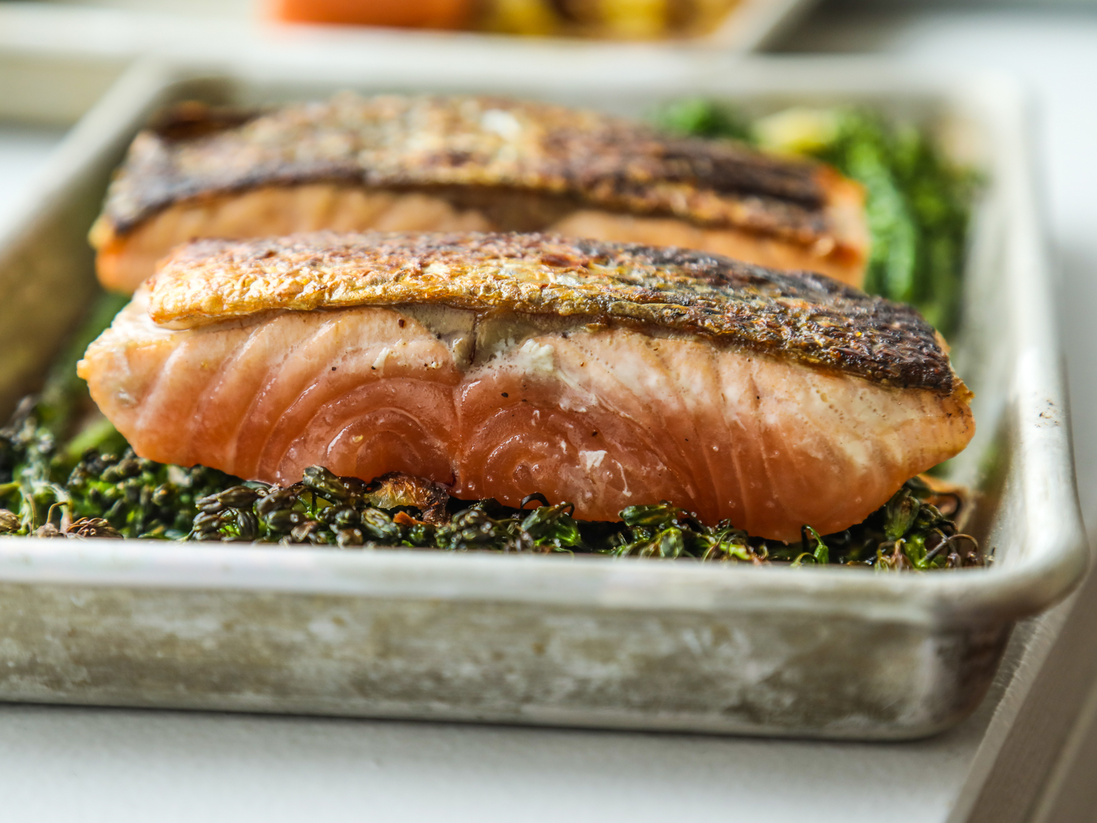 Perfectly cooked salmon filets