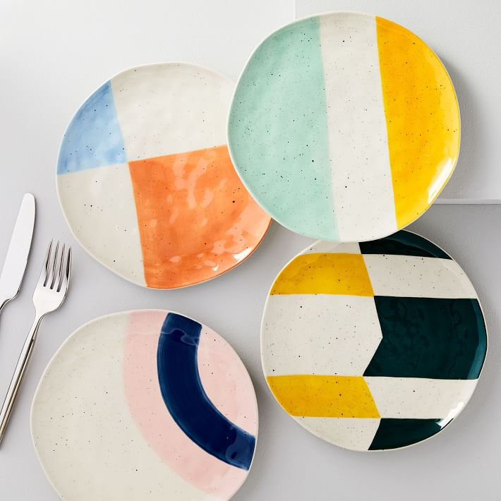 color blocked plates