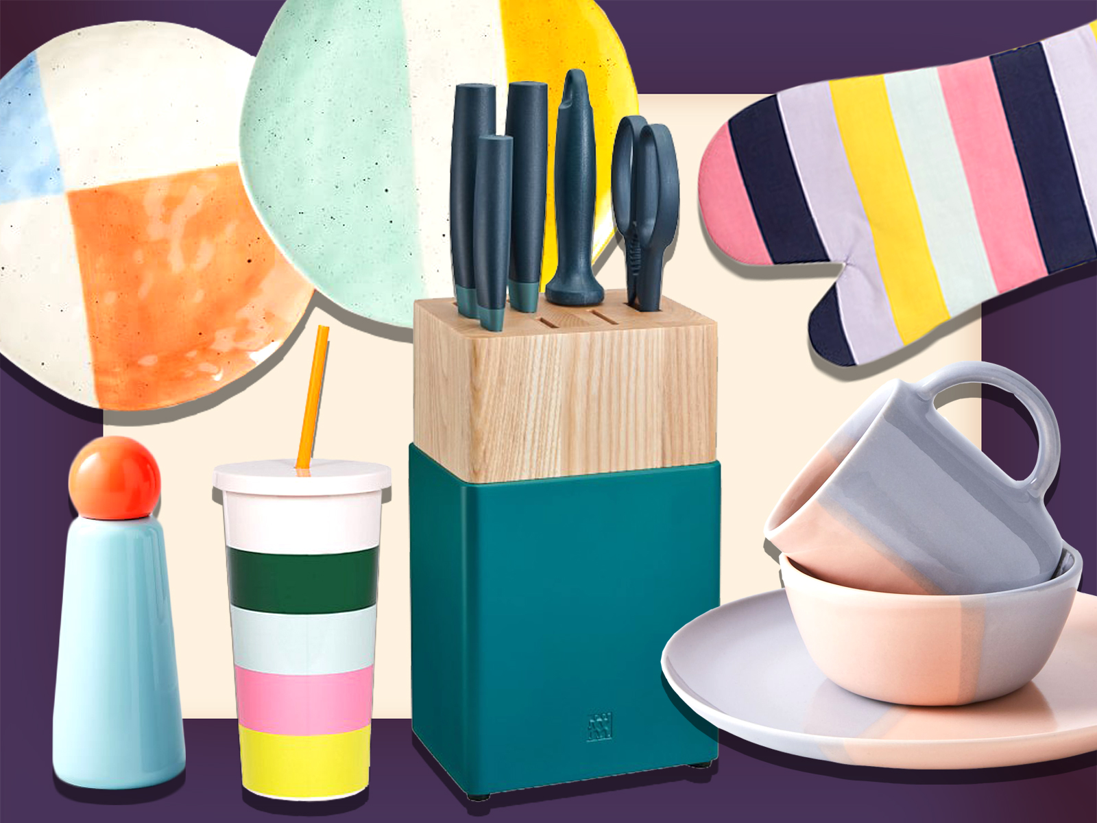 color blocked kitchen items
