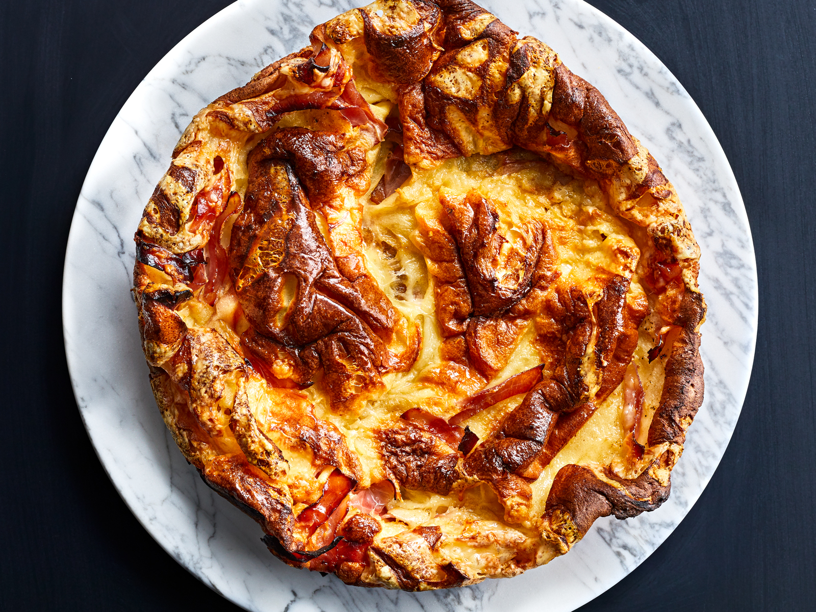 Polenta Dutch Baby with Ham and Swiss Recipe